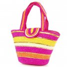 Pink Stripe STRAW ShoulderBag SUMMER HandBAG Tote