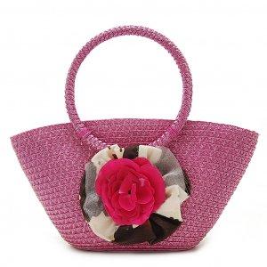 Summer Flower Pink STRAW SHOULDERBAG TOTE HANDBAG