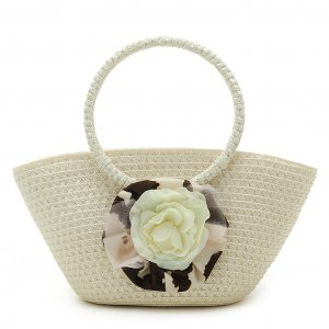 Summer Flower White STRAW SHOULDERBAG TOTE HANDBAG