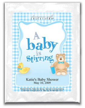 A Baby Is Stirring-Gingham-Blue