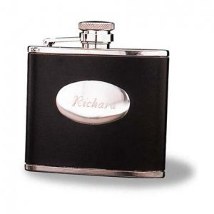 Engraved Stainless Steal Leather Flask