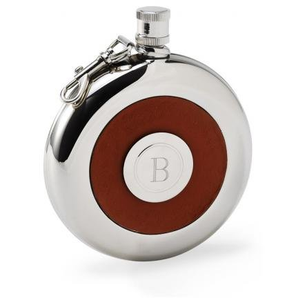 Oxford Round Leather Flask w/Shot
