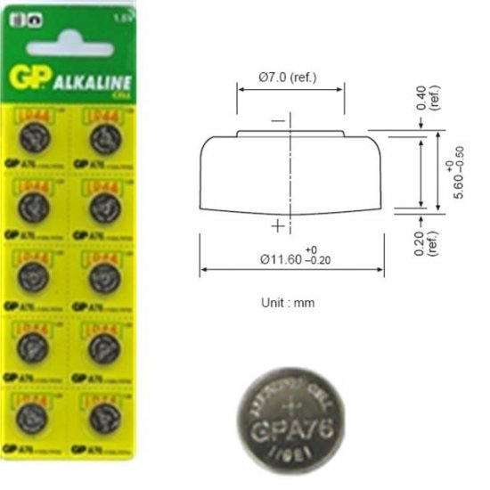 10pcs GP LR44 / A76 Button Batteries for Toy, Laser, Game, mini Clock