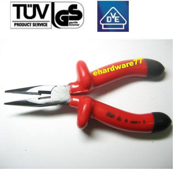"""VDE 1000V Insulated Long Nose Pliers 6-1/2"""""""