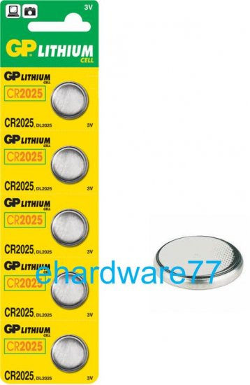 GP CR2025 Lithium Button Batteries - Lot of 5pcs