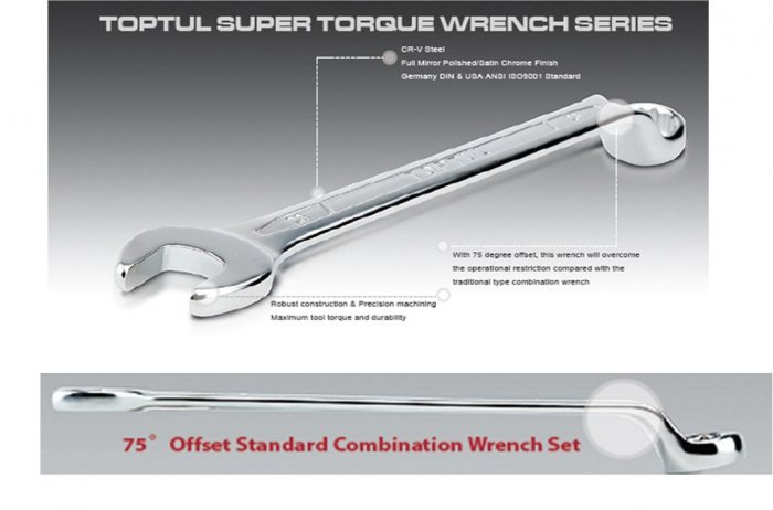 Combination Wrench 75° Offset 15mm