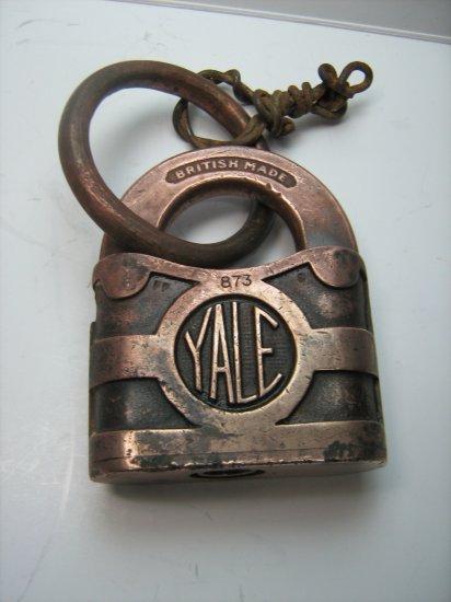 Antique Vintage British Made YALE 873 Brass Padlock & Ring