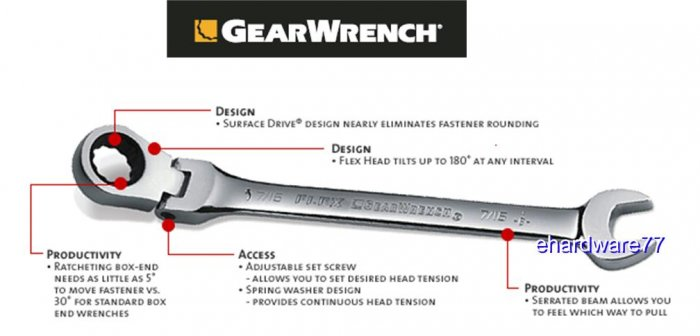 Grearwrench - Flex Combination Ratcheting Wrench 7/16""