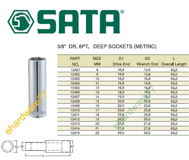 "SATA - 3/8"" DR. Deep Socket 21mm"