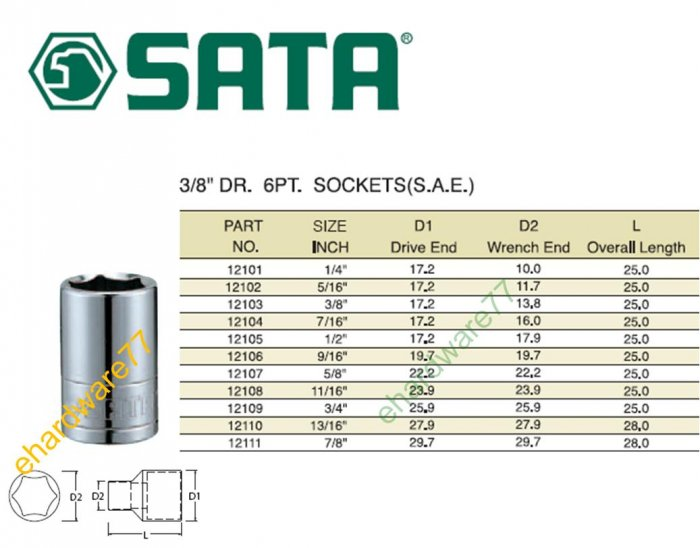 "SATA - 3/8"" DR. Socket 1/2"""