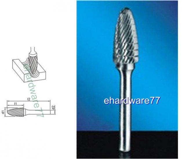 CARBIDE BURR - ARC Cylinder with Ball Top 6mm Shank x 13mm Dia. x 25mm Cut L