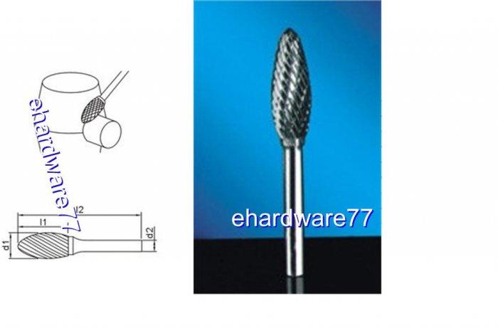 CARBIDE BURR - Flame 6mm Shank x 12mm Dia. x 32mm Cut L