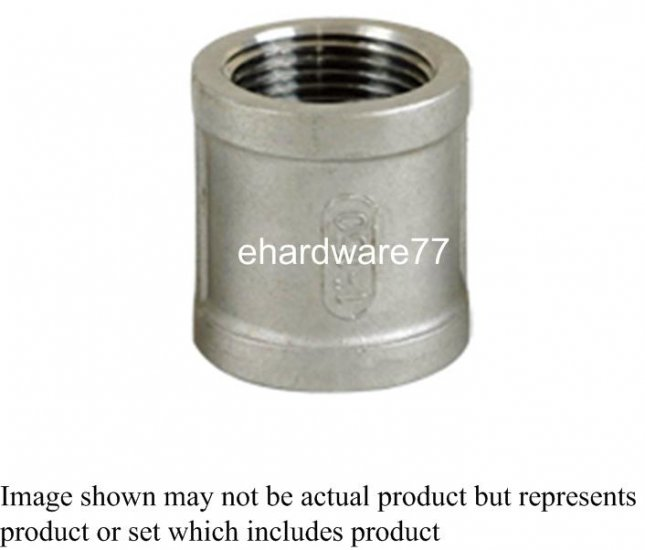 """Stainless Steel Threaded Coupling 1/2""""F x 1/2""""F"""