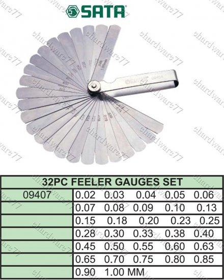 SATA 32PCS BLADE METRIC FEELER GAUGES (09407)