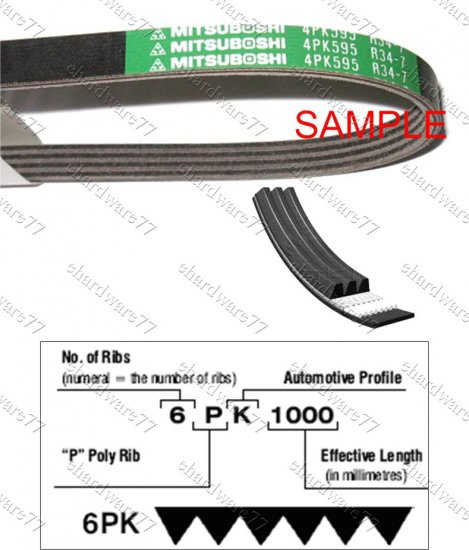 MITSUBOSHI V-Ribbed Drive Belt 3PK735