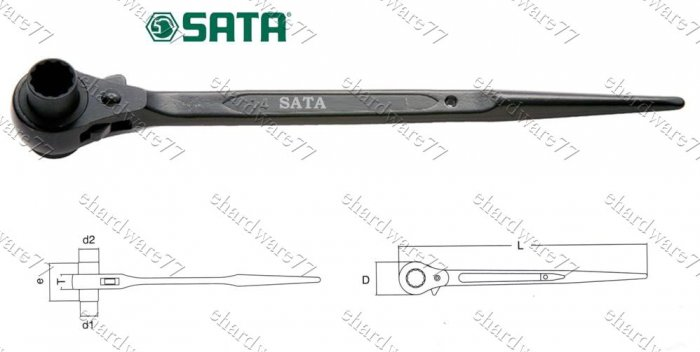 SATA DOUBLE SOCKET RATCHET HANDLE 17x19mm (47309)