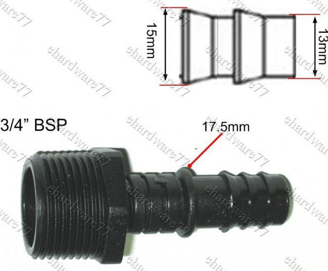 """POLY FITTING MALE BARB 3/4"""" BSPx13MMx17MM"""
