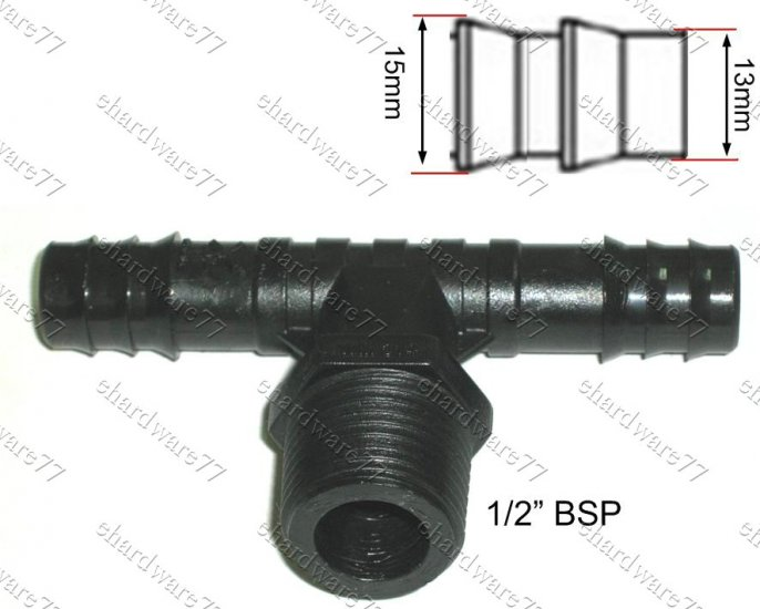 """POLY FITTING MALE TEE BARB 1/2"""" BSPx13MM"""