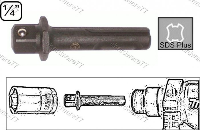 """SDS-plus Shank 1/4"""" DR. Square Drive Impact Adapter (2380051)"""