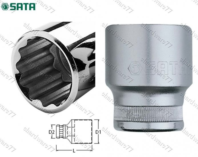 "SATA 3/4"" DR 12pt Socket 19mm (16602)"