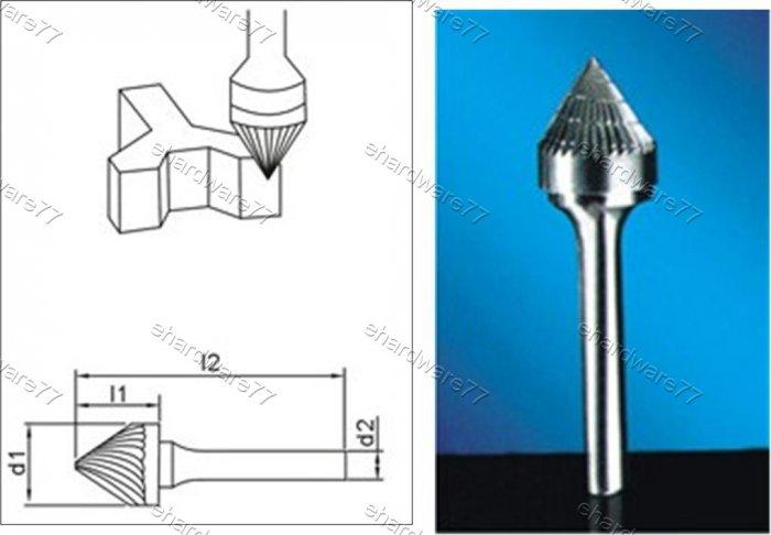 Tungsten Carbide Burr Countersink 60Degree 6d1X5l1X6d2(mm)