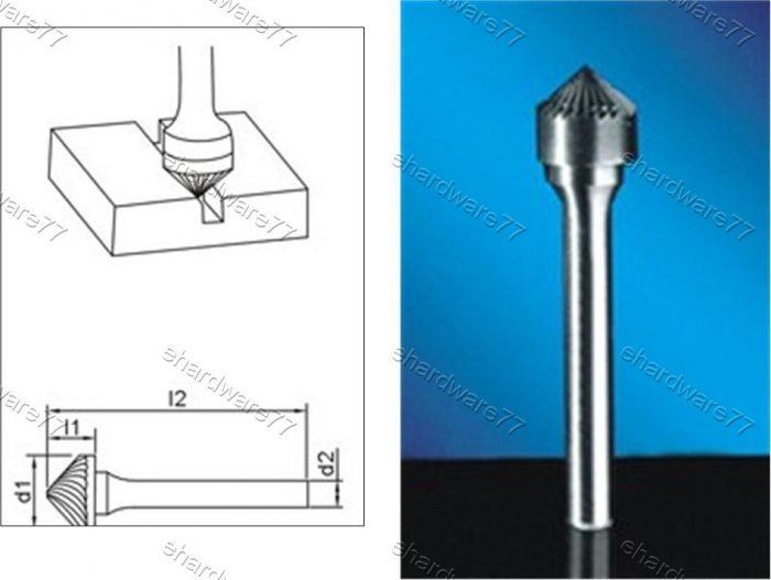 Tungsten Carbide Burr Countersink 90Degree 12d1X6l1X6d2(mm)