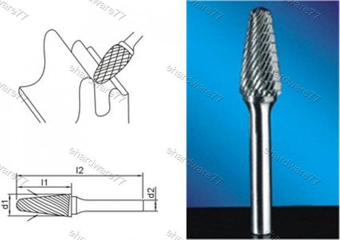 Tungsten Carbide Burr Ball Nosed Cone 3d1X13l1X3d2(mm)
