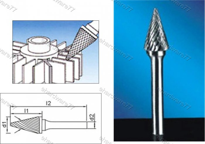 Tungsten Carbide Burr Cone 8d1X17l1X6d2(mm)