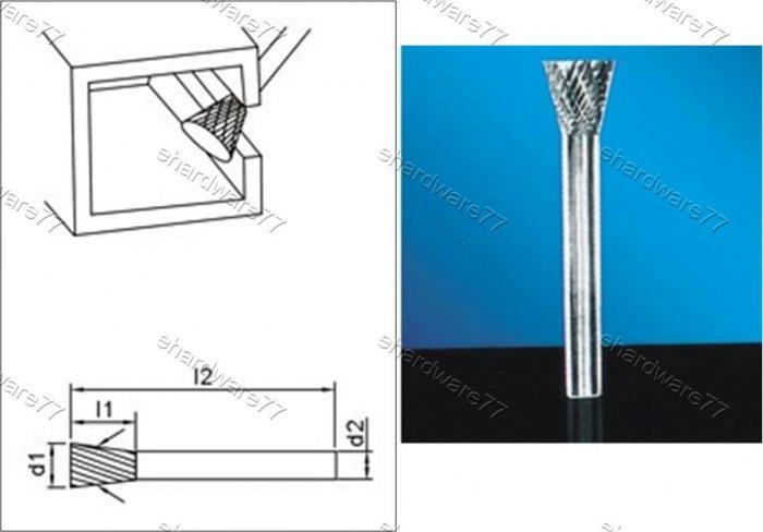 Tungsten Carbide Burr Inverted Cone 3d1X4l1X3d2(mm)