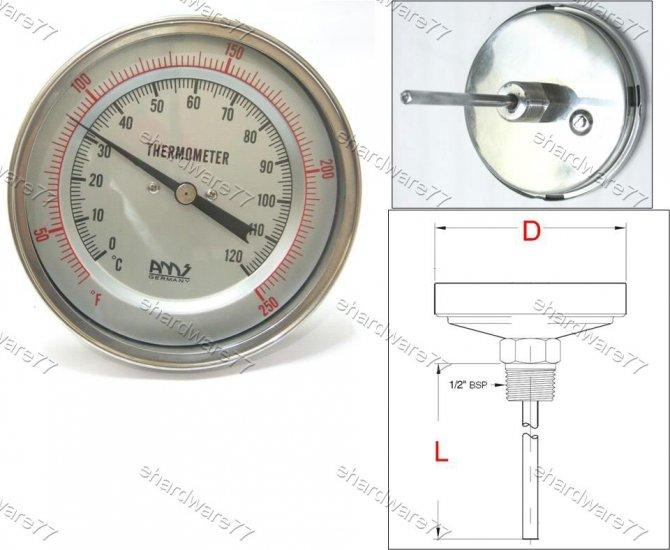 Bimetal Thermometer Back 0°C to +120°C (BT1244)