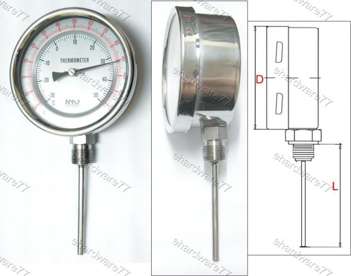 Bimetal Thermometer Bottom 0°C to +300°C (BT4430)