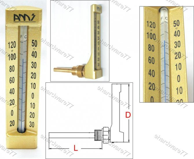 V-LINE ANGLE THERMOMETER 0°C to +120°C (VA662H)