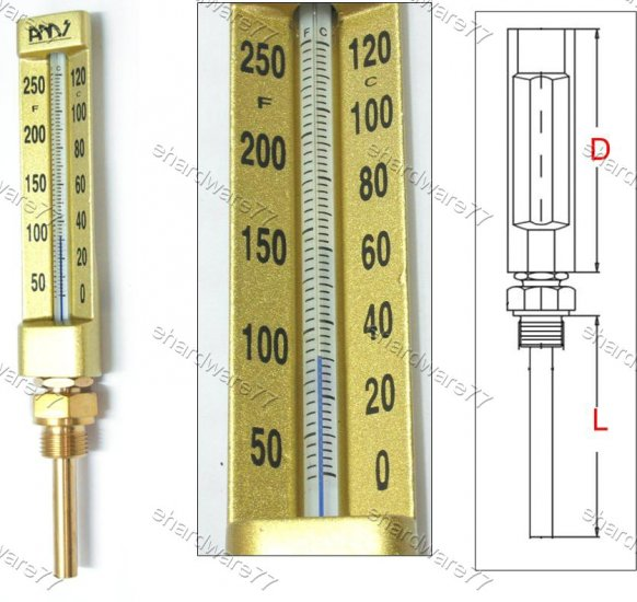 V-LINE STRAIGHT THERMOMETER 0°C to +120°C (VT663H)