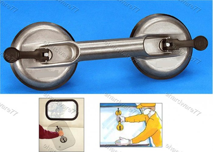 Aluminium Body Double Suction Cup Glass Lifter