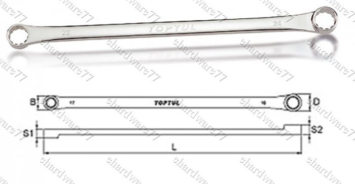 TOPTUL Flat Extra Long Double Ring Wrench 22mm x 24mm (AAAP2224)
