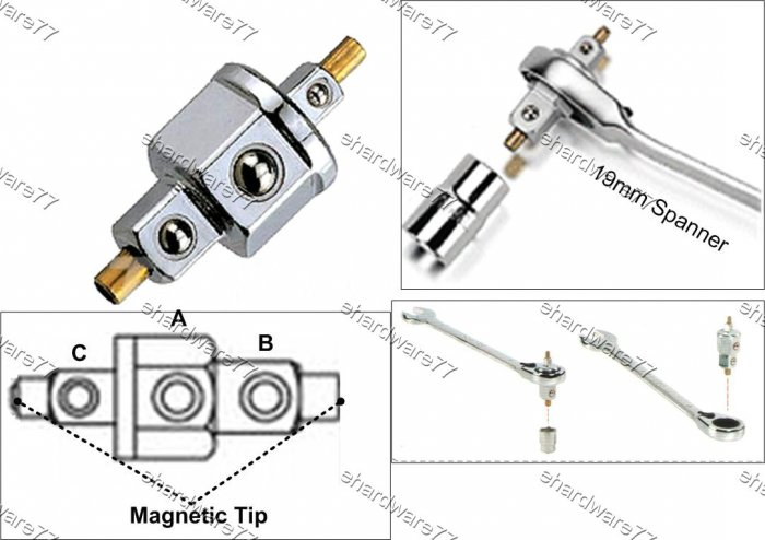 "Wrench To Square Drive 2-Way Adaptor 19mmx1/2""x3/8"" (CAKA1934)"