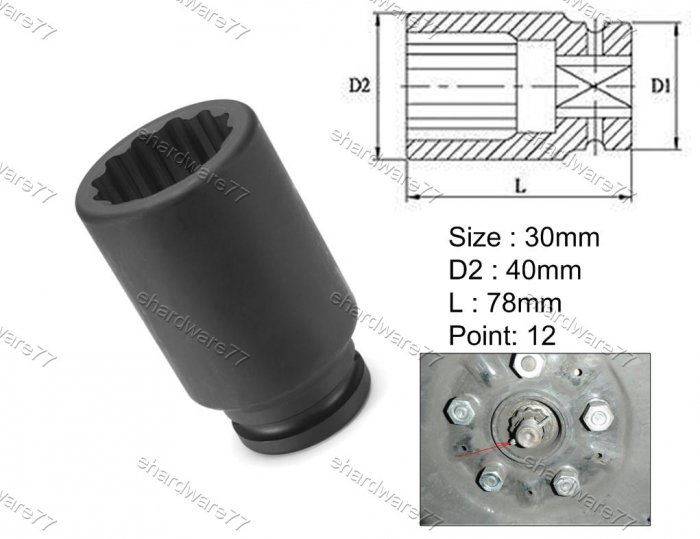 "1/2""DR 12pt Thin Wall Deep Impact Socket 30mm (75IS030)"