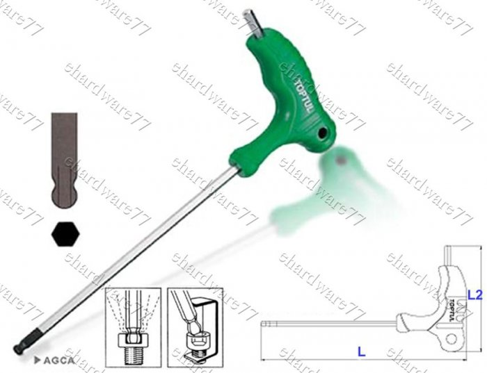 TOPTUL - 2way L-Type Ball Speed Hex Key Wrench 4.0MM (AGCA0415)