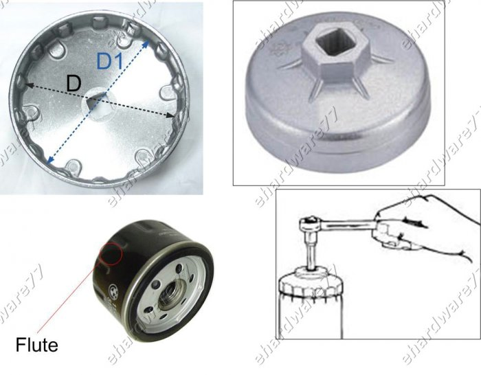 Oil Filter Cap wrench Size: 76mm P12 for Daihatsu,Ford,Mazda,Mitsubishi (WH911)