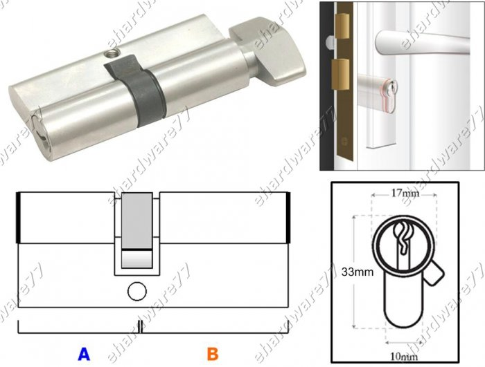 Euro Profile Turn Cylinder Lock 70mm (SGSC70SN)