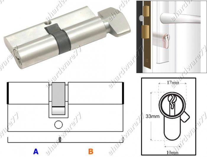 Euro Profile Turn Cylinder Lock 60mm (SGSC60SN)