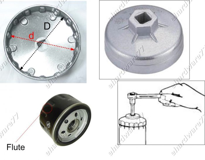 Oil Filter Cap wrench Size: 86mm P-18 for Citroen, Peugeot, Renault (WH906)