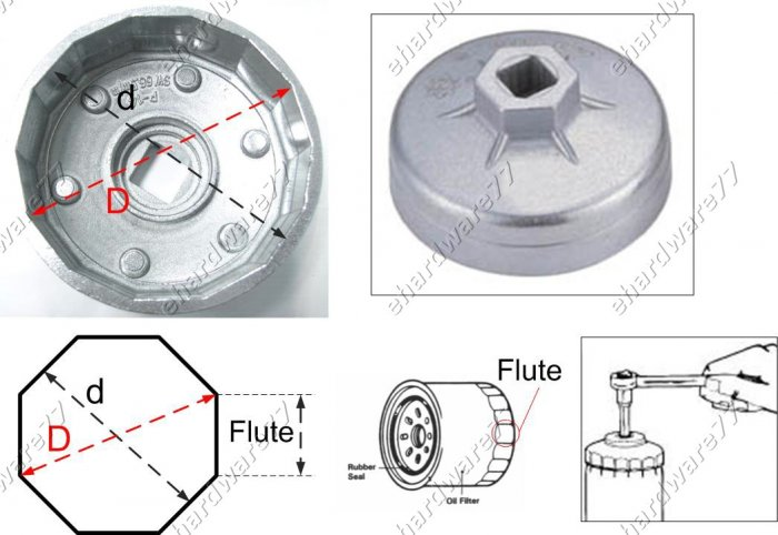 Oil Filter Cap wrench Size: 76mm P8 for Fiat (WH9032)