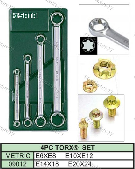 SATA 4Pcs Double End E-Torx Ring Spanner Set (09012)