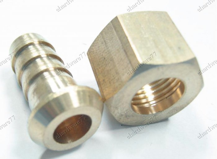 """Brass Swivel Nut & Tail - 3/16"""" Hose Tail x 1/4""""F (BHC34)"""