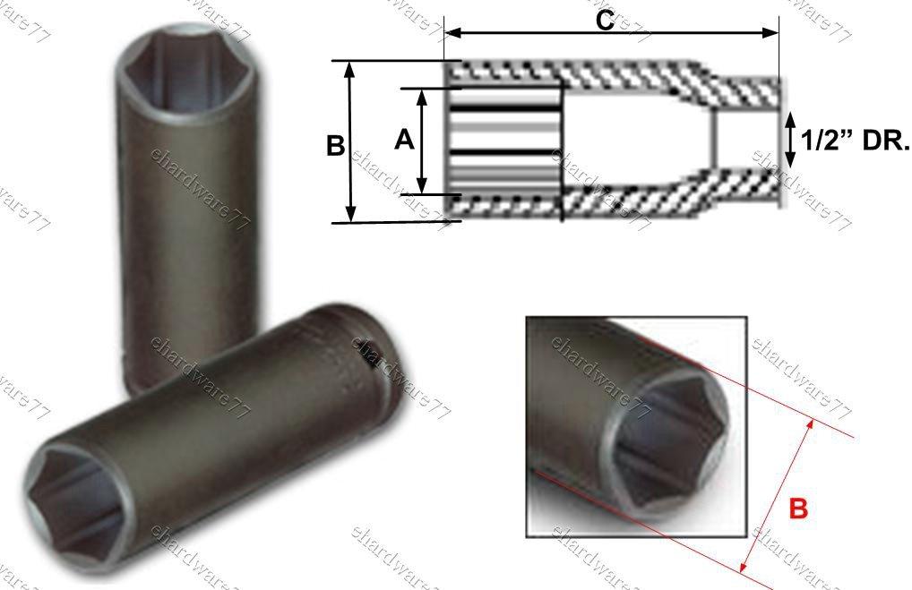 "1/2"" DR. Super Thin Deep Impact Socket 17mm (75TS117)"