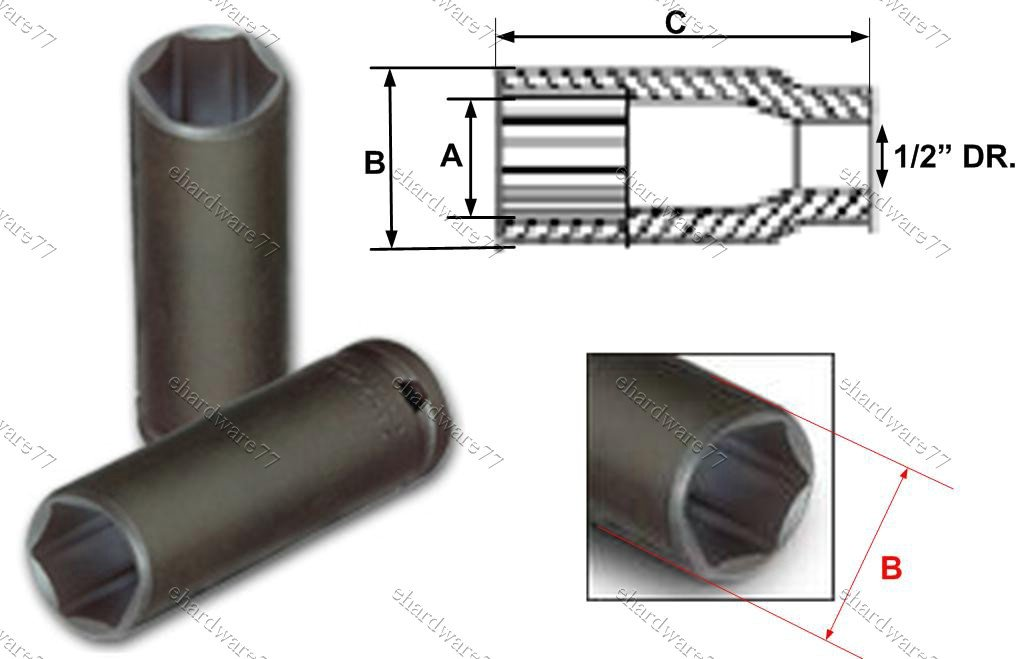 "1/2"" DR. Super Thin Wall Deep Impact Socket 19mm (75TS119)"
