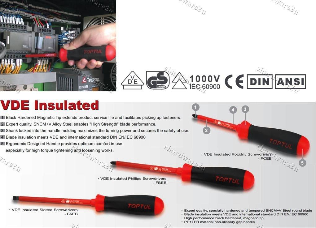 TOPTUL VDE Insulated Electrician Screwdriver Pozidriv (*) PZ0x75mm (FCEB0008)