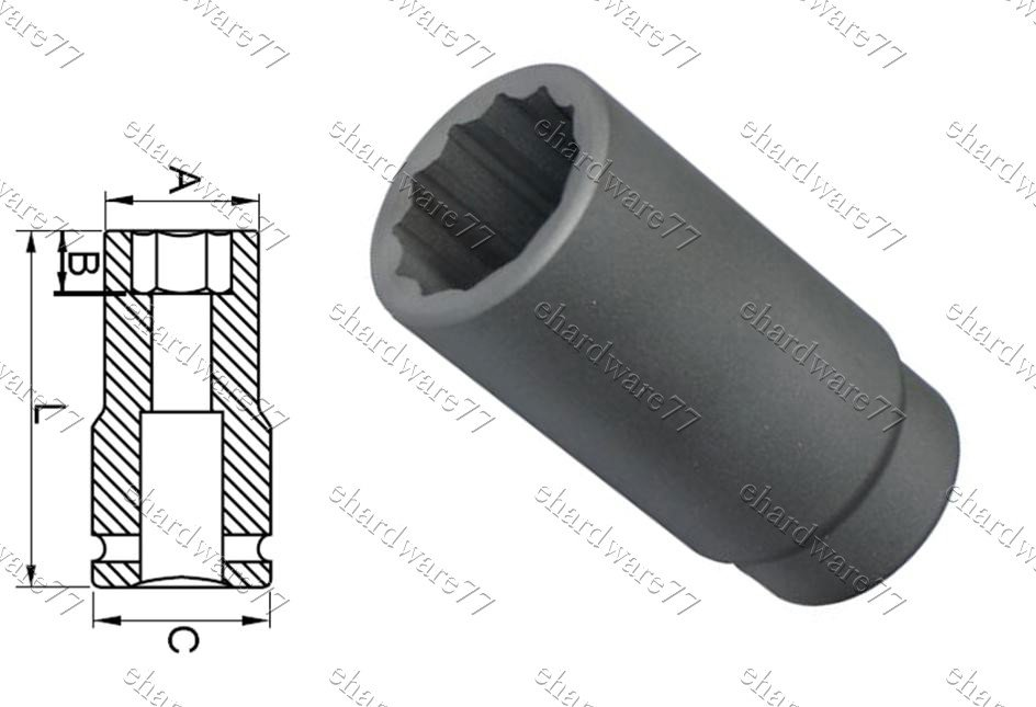 "1/2""DR. 12pt Deep Impact Socket 12mm (65827012)"