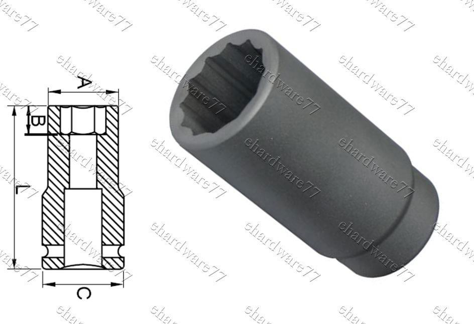 "1/2""DR. 12pt Deep Impact Socket 15mm (65827015)"